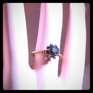 Rare 60's Sapphire Tulip Ring with Rope Band!